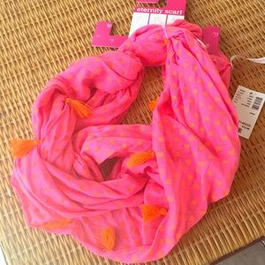 Accessories - Pink Scarf with cute orange tassels